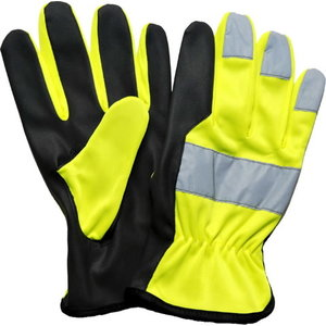 Gloves, PU Microtan palm, HiViz yellow back, reflectors