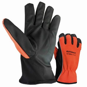 Gloves, orange, PU palm, Spandex back, reflector 9, Stokker