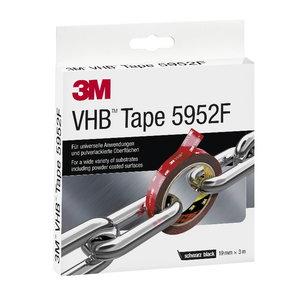VHB 5952F akrilinė dvipusė juosta 19mm x3m juoda, 3M