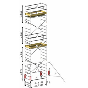 Mobile tower ROLLER PLUS L, module B 1,84m, Svelt