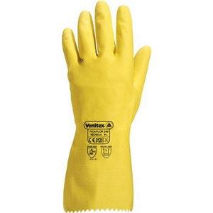 Pirštinės, natūralus lateksas, geltonos 9/10, Delta Plus
