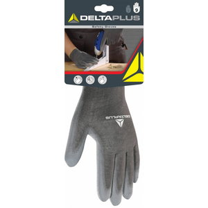POLYESTER KNITTED GLOVE / PU PALM. Grey 10, Delta Plus