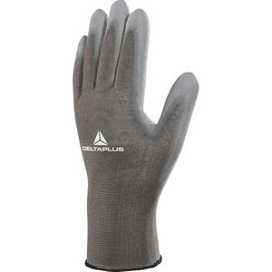 Polyester knitted glove / PU palm, grey 11, Delta Plus