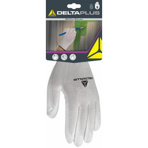POLYESTER KNITTED GLOVE / PU PALM. White 7, Delta Plus