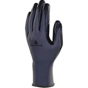 Gloves, polyester knitted, nitrile coating palm, grey/black