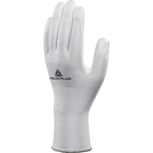 Gloves knitted pu-coating palm white Cut resistance Level 3 9, Delta Plus