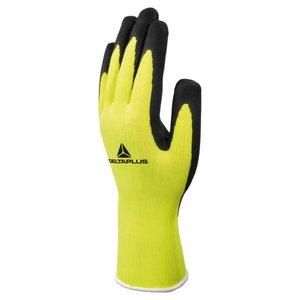 Gloves, KNITTED TERYLENE - LATEX FOAM, Hi-Viz yellow 9, Delta Plus