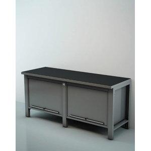 Töökoja laud 2m riiulite ja lükanduksega sahtlid