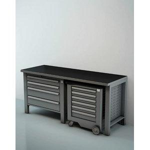 Töökoha komplekt: 2m Sahtlitega laud, tööriistakäru, 2m, Keen Space