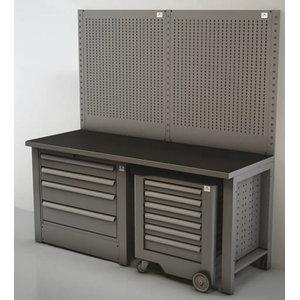 Töökoha komplekt: 2m Sahtlitega laud, sein, tööriistakäru, Keen Space