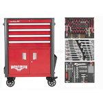 Dirbtuvių vežimėlis WINGMAN 4 stalčių +  130 vnt. įrankių ri, Carolus