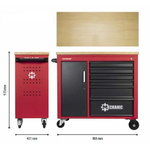 Tool Trolley MECHANIC, 6 drawers + storage, red/black, Carolus