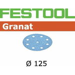Šlifavimo popierius GRANAT / STF D125/90 / P60 / 10pcs, Festool