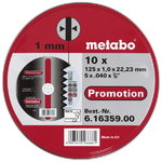 INOX cutting discs 125x1,0x22 mm, A60R, 10 pcs, Metabo