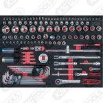 "SCS CHROMEplus 1/4""+1/2"" galvučių kompl. 135 vnt, KS tools"