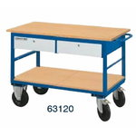 Workshop table trolley with 1 shelf and 2 drawers, 63120, Metec