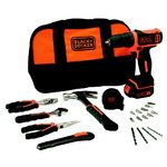 Cordless drill BDCDD12 / 10,8V / 1,5 Ah + 20 accessories, Black+Decker