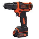 Cordless drill driver BDCDD12K1 / 10,8V / 1,5 Ah, Black+Decker