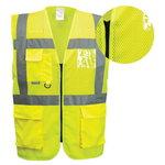 Helkurvest kollane taskute ja lukuga, võrkkangas/kangas L