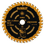 Sawblade 165x1,65x20mm, z40, 20°. Wood, MDF, DeWalt