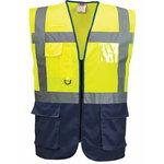 Hi.vis vest LSGMP with zipper yellow/navy L, PESSO