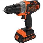 Cordless drill MT218K / 18V / 1,5 Ah / Multievo Starter kit, Black+Decker