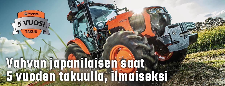 Kubota traktorit 5 vuoden takuulla