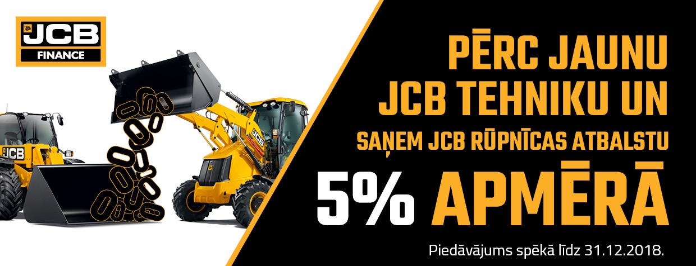 Saņem JCB rūpnīcas atbalstu 5% apmērā