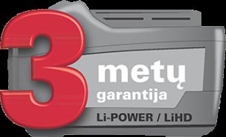 Metabo akumuliatoriams suteikiama 3 metų garantija!