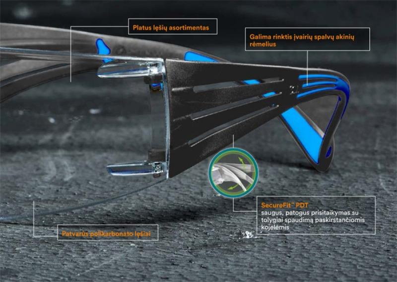 Atnaujinti 3M SecureFit 400 akiniai su 3M Scotchgard nuo rasojimo saugančia danga