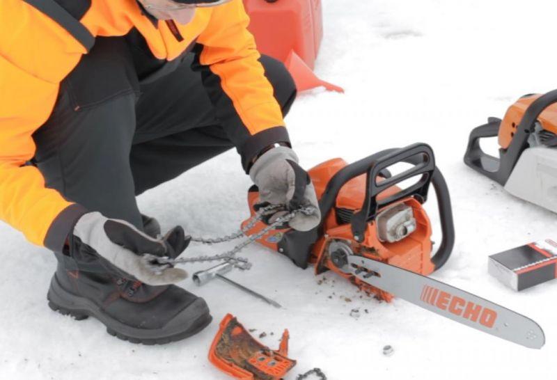 Grandininio pjūklo naudojimas žiemą
