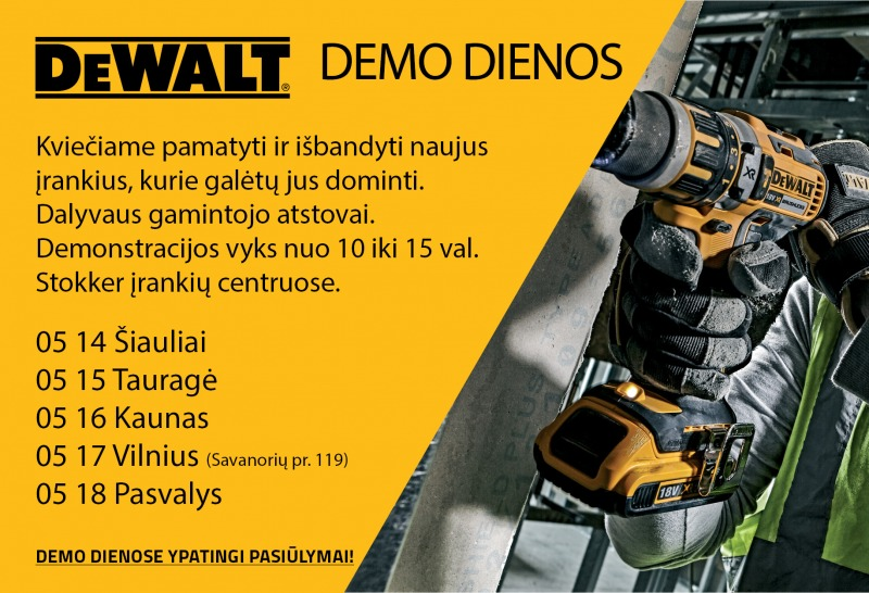 DeWALT demo dienos Stokker įrankių centruose